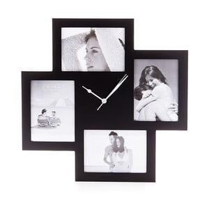 Čierne nástenné hodiny s fotorámikom Tomasucci Collage