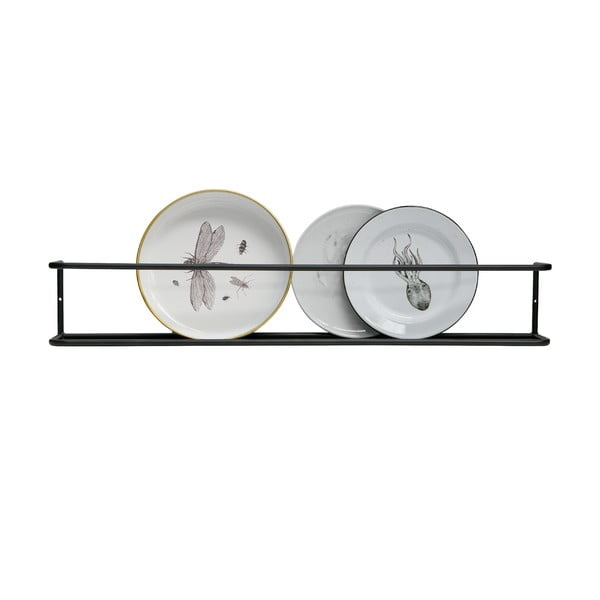 Čierna nástenná kovová polička WOOOD Myrthe, dĺžka 80 cm