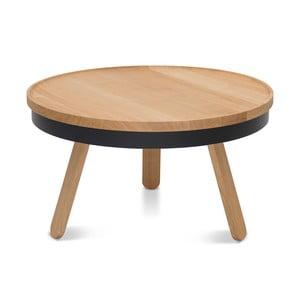 Prírodno-čierny odkladací stolík z dubového dreva s úložným priestorom Woodendot Batea M