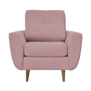 Ružové kreslo Mazzini Sofas Flower, svetlé nohy
