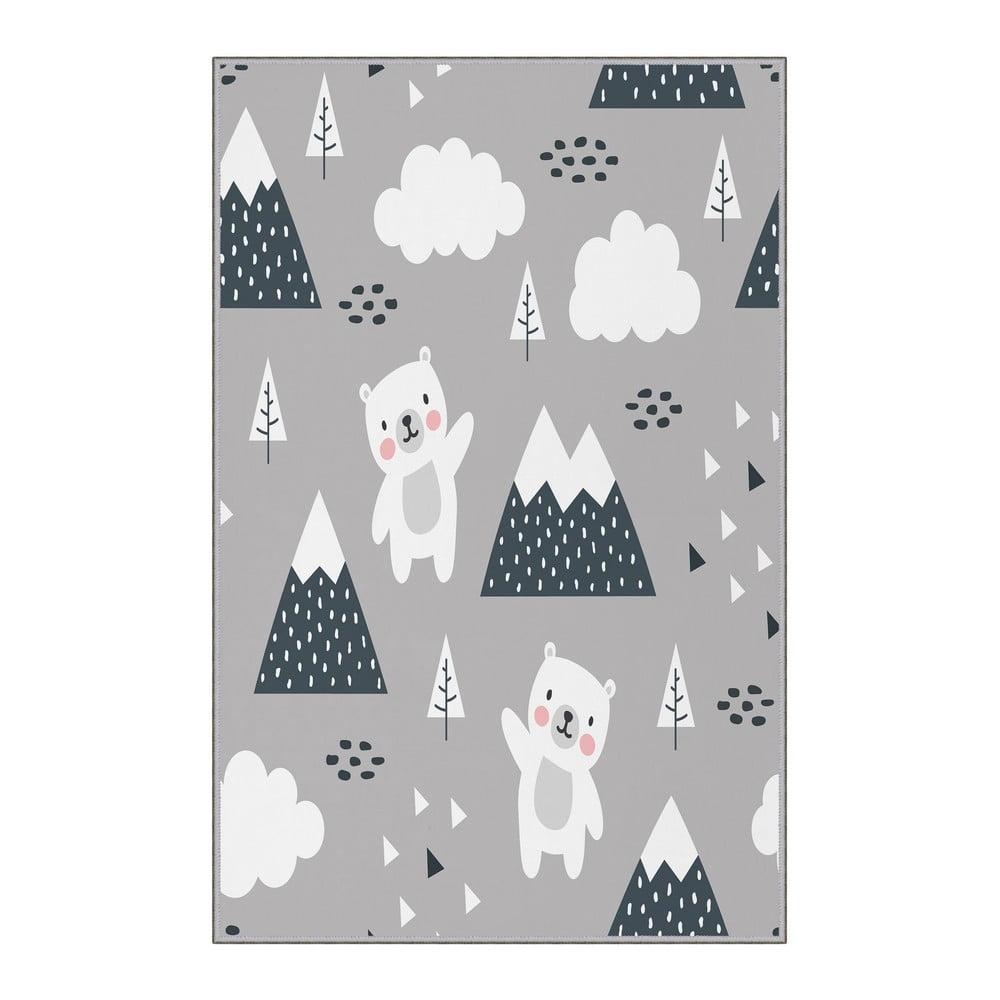 Sivý detský protišmykový koberec Homefesto Bears, 80 x 120 cm