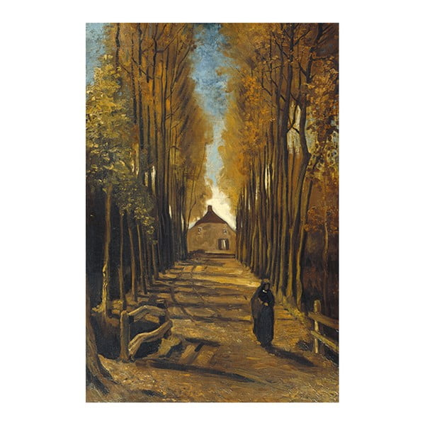 Obraz Vincenta van Gogha - Avenue of poplars in autumn, 40x26 cm