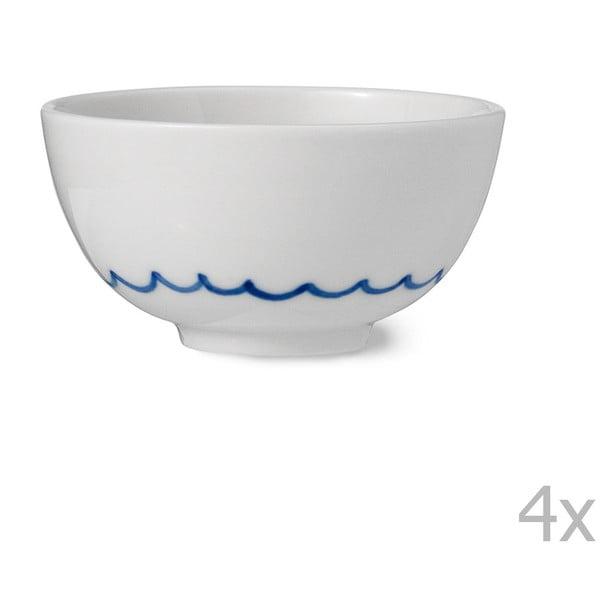 Sada 4 ručne vyrábaných porcelánových misiek Anne Black Agate, výška 4 cm