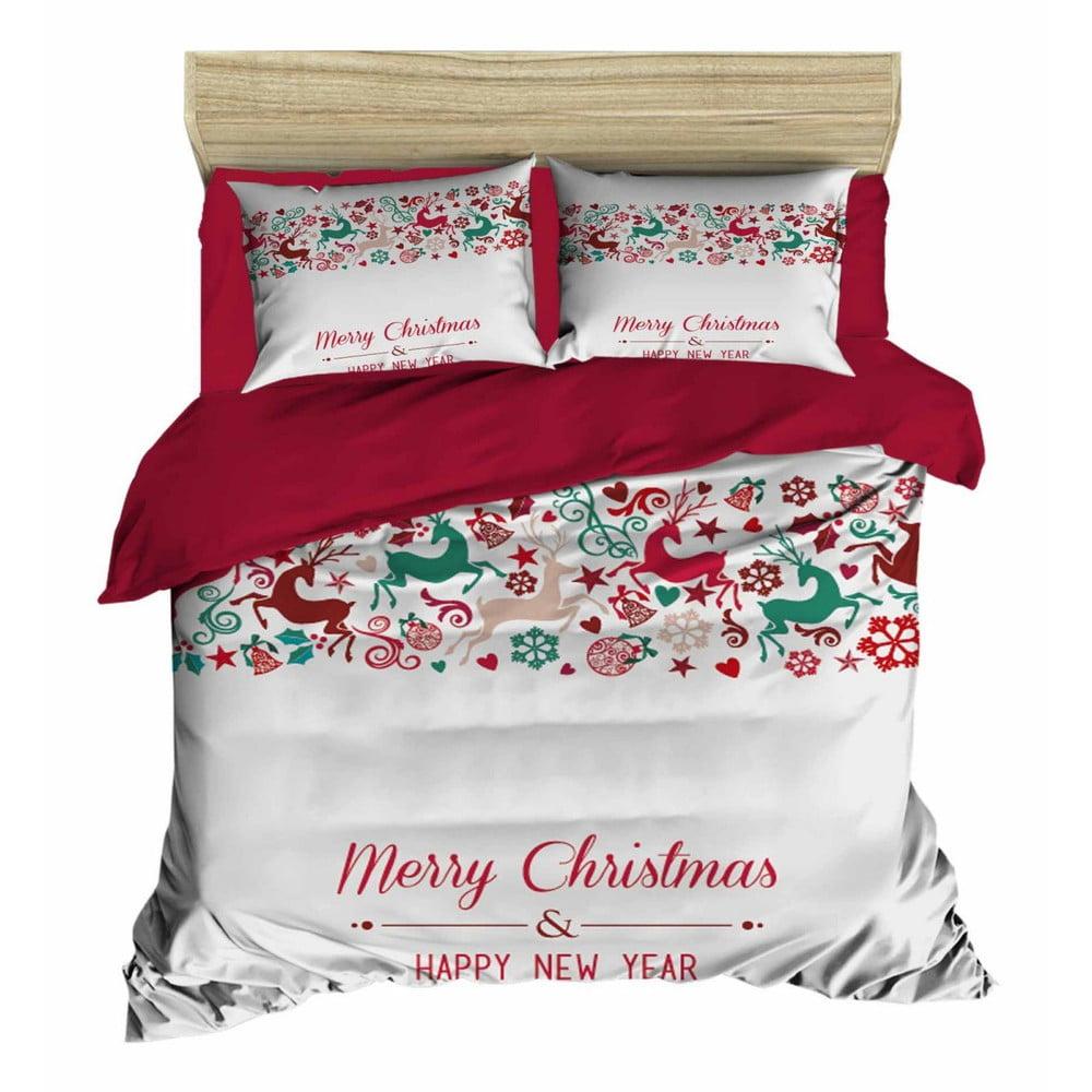 Vianočné obliečky na dvojlôžko s plachtou Enrico, 160×220 cm