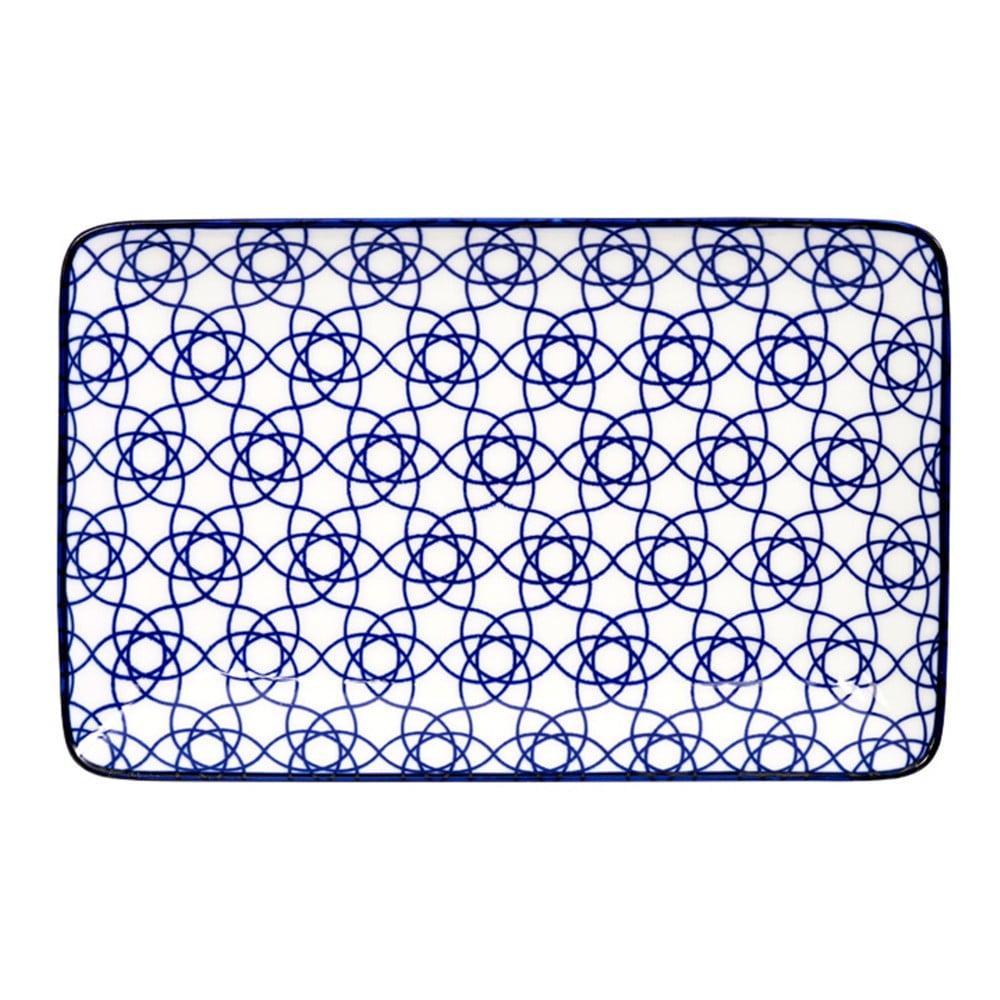 Modrý porcelánový tanier Tokyo Design Studio Rect, 21 × 13,5 cm