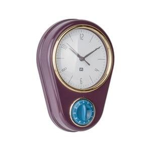 Tmavofialové nástenné hodiny s kuchyňskou minútkou PT LIVING