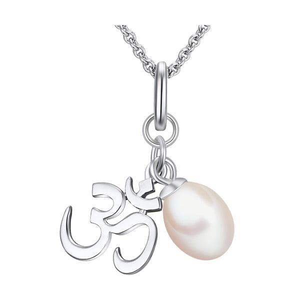 Strieborný náhrdelník s príveskom a perlou Chakra Pearls Om, 42 cm