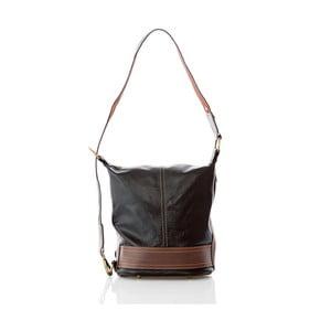 Čierno-hnedá kožená kabelka/batoh Glorious Black Francy