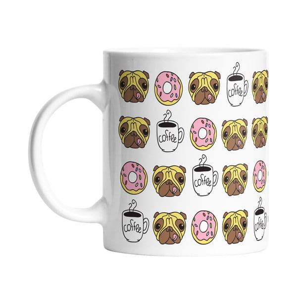 Keramický hrnček Butter Kings Coffee Time With Pug, 330 ml