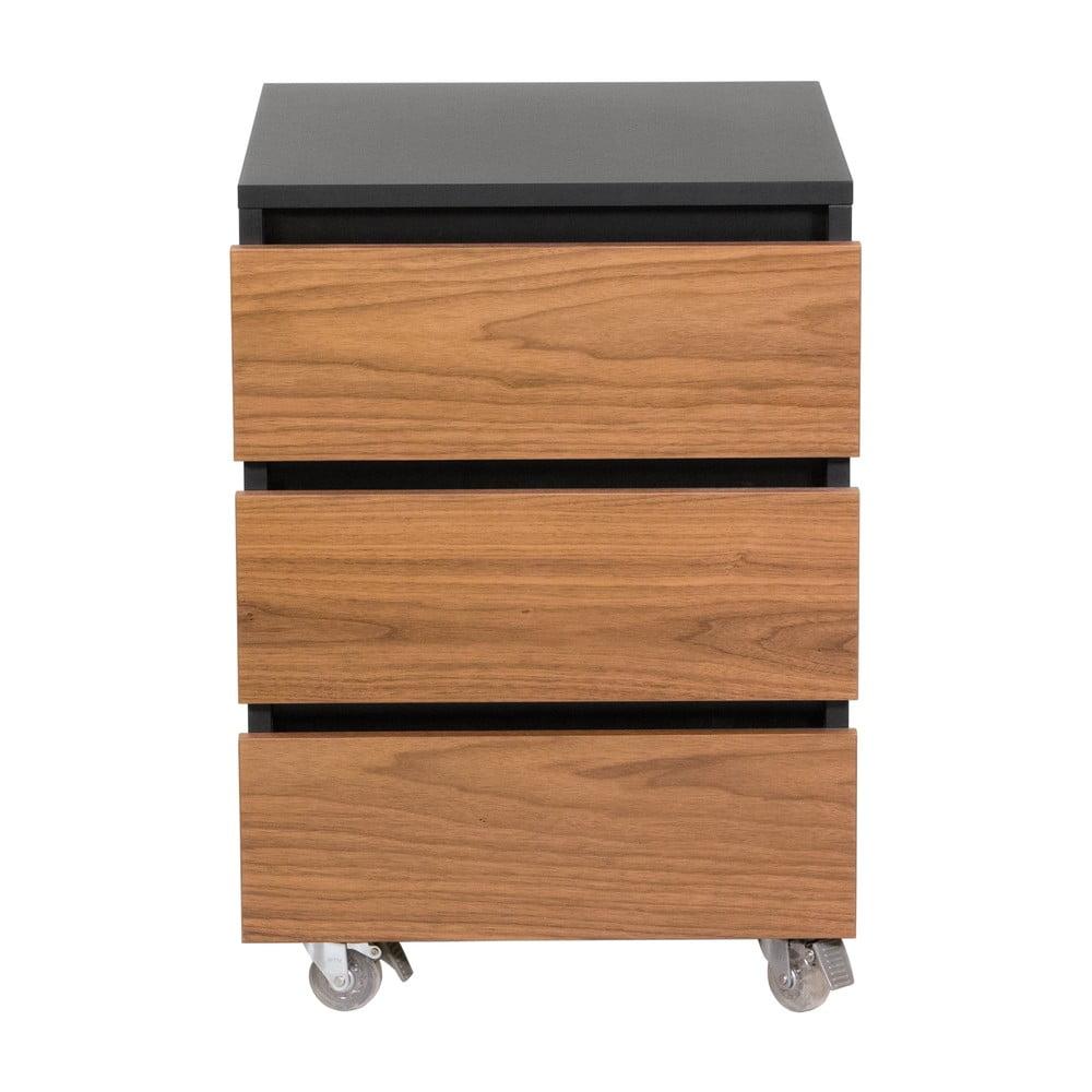 Tmavohnedá skrinka na kolieskach s tromi zásuvkami We47 Renfrew Pro