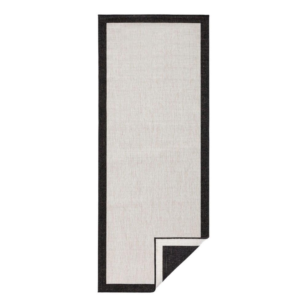 Čierno-krémový vonkajší koberec Bougari Panama, 80 x 350 cm