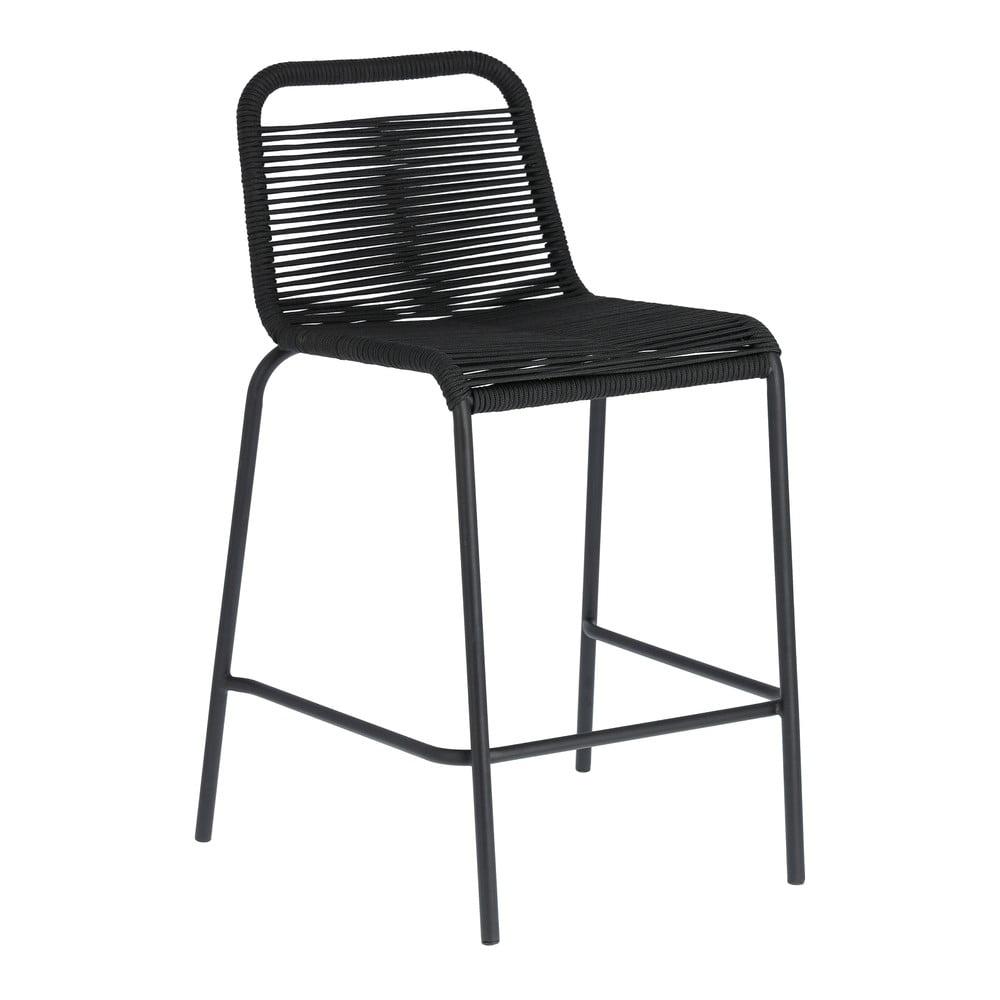 Čierna barová stolička s oceľovou konštrukciou La Forma Glenville, výška 62 cm