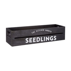 Čierny drevený črepník na bylinky a kvetiny Premier Housewares Seedligngs, 15×45 cm