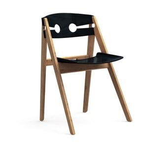 Čierna jedálenská stolička s konštrukciou z bambusu Moso We Do Wood