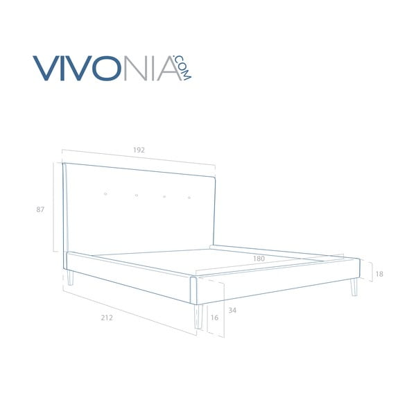 Pastelovoružová posteľ VIVONITA Kent 180x200cm, prírodné nohy