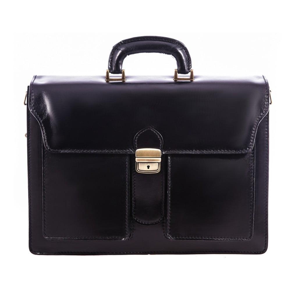 Čierna kožená pánska taška Chicca Borse Fabio