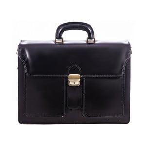 Čierna kožená taška Chicca Borse Fabio