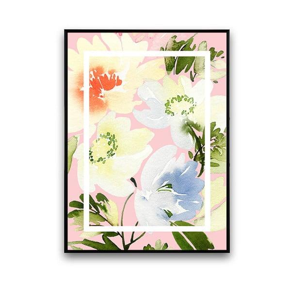Plagát s kvetmi, svetloružové pozadie, 30 x 40 cm
