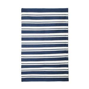 Modrý bavlnený ručne tkaný koberec Pipsa Navy Stripes, 200×140 cm