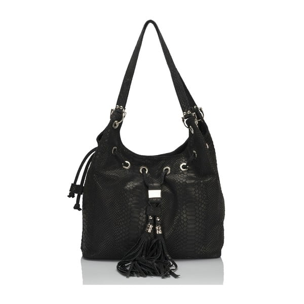 Čierna kožená kabelka Lisa Minardi Divisa