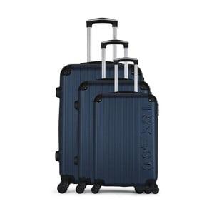 Sada 3 tmavomodrých cestovných kufrov na kolieskach GENTLEMAN FARMER Cadenas Integre