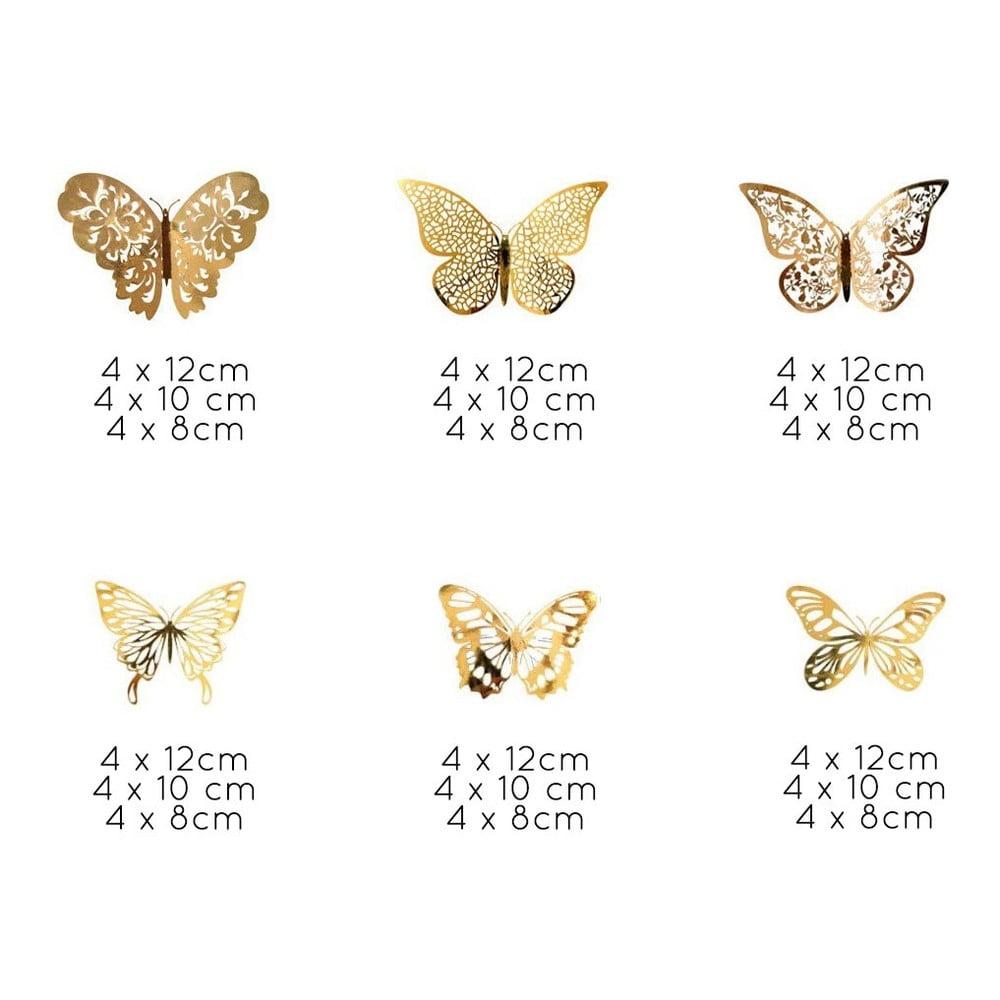 Sada 36 samolepiacich nástenných motýľov v zlatej farbe Ambiance Butterflies Gold
