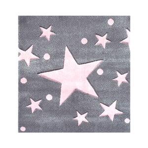 Sivo-ružový detský koberec Happy Rugs Star Constellation, 140x140cm
