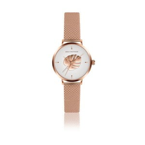 Dámske hodinky s remienkom z antikoro ocele vo farbe ružového zlata Emily Westwood Monstera