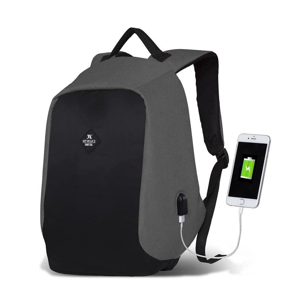 Čierno-sivý batoh s USB portom My Valice SECRET Smart Bag