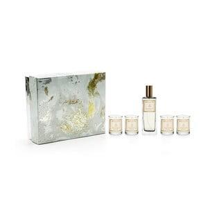 Set 4 vonných sviečok a bytového parfému v darčekovom balení s vôňou gardénie a ľalie Bahoma London