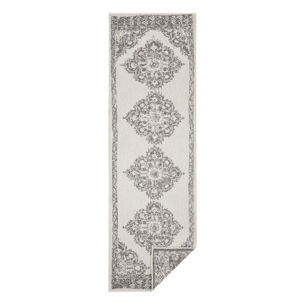 Sivo-krémový vonkajší koberec Bougari Cofete, 80 x 250 cm
