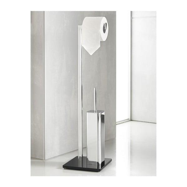 Stojan na toaletný papier s WC kefou Empire Silver/Black