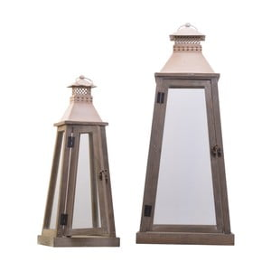 Sada 2 drevených lampášov Dino Bianchi Ferrata