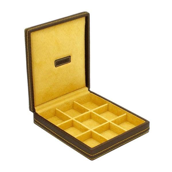 Žlté puzdro na manžetové gombíčky Firedrich Lederwaren Carbon