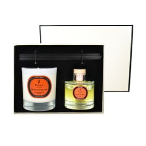 Darčeková sada sviečky a difuzéra Aromatherapy, vôňa pomaranča a klinčeka