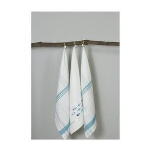 Sada 3 bielo-modrých kuchynských utierok My Home Plus Fish, 50×70 cm