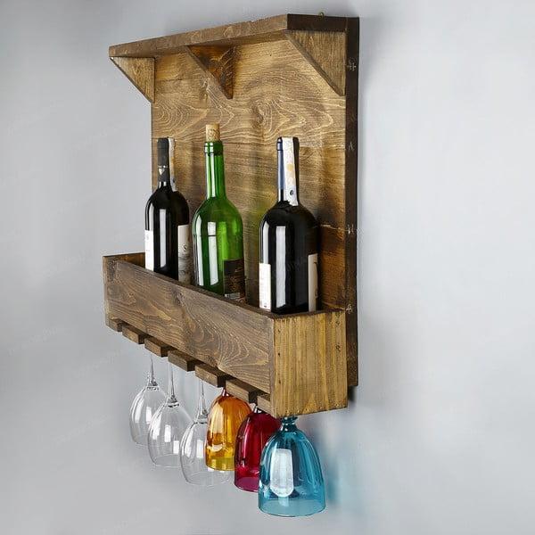 Ručne vyrábaný stojan na víno a držiak na poháriky z masívneho dreva Catalin Taisia, 70 × 50 × 12 cm