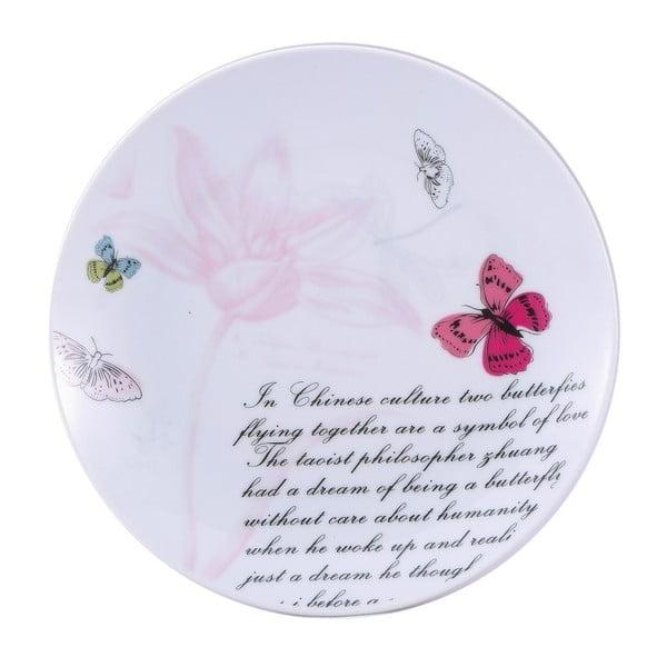 Dezertný porcelánový tanier Bergner Pink Butterfly, 19 cm