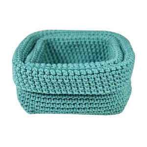 Set 2 košíkov Crochet Aqua