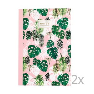 Sada 2 linajkových zošitov s tropickou potlačou Rex London Tropical Palm