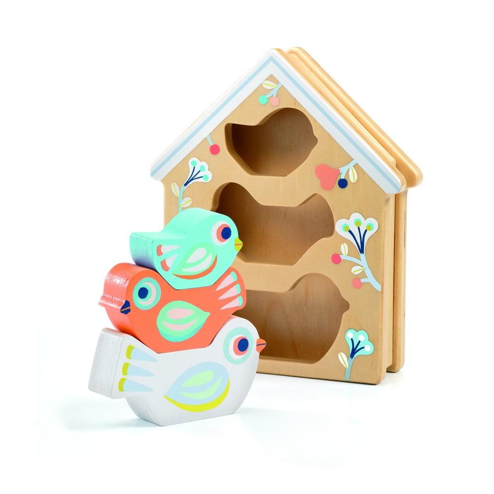 Detské vkladacie drevené puzzle Djeco Vtáčia búdka