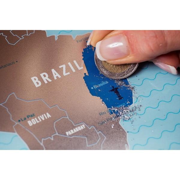 Stieracia strieborná mapa sveta Travel Map