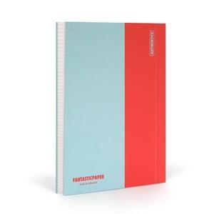 Zápisník FANTASTICPAPER A5 Skyblue/Warm Red, štvorčekový
