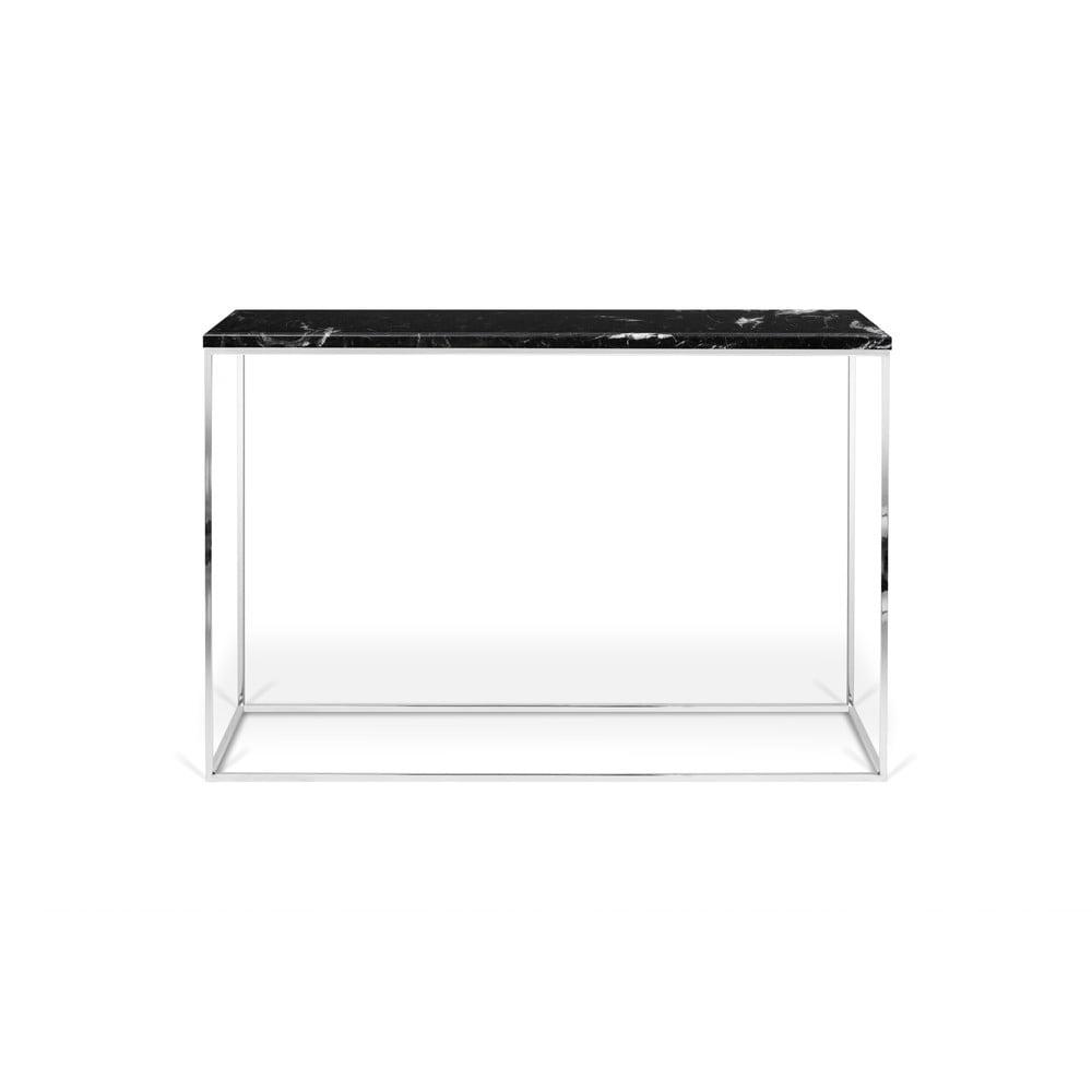 Čierny konzolový stolík s mramorovou doskou TemaHome