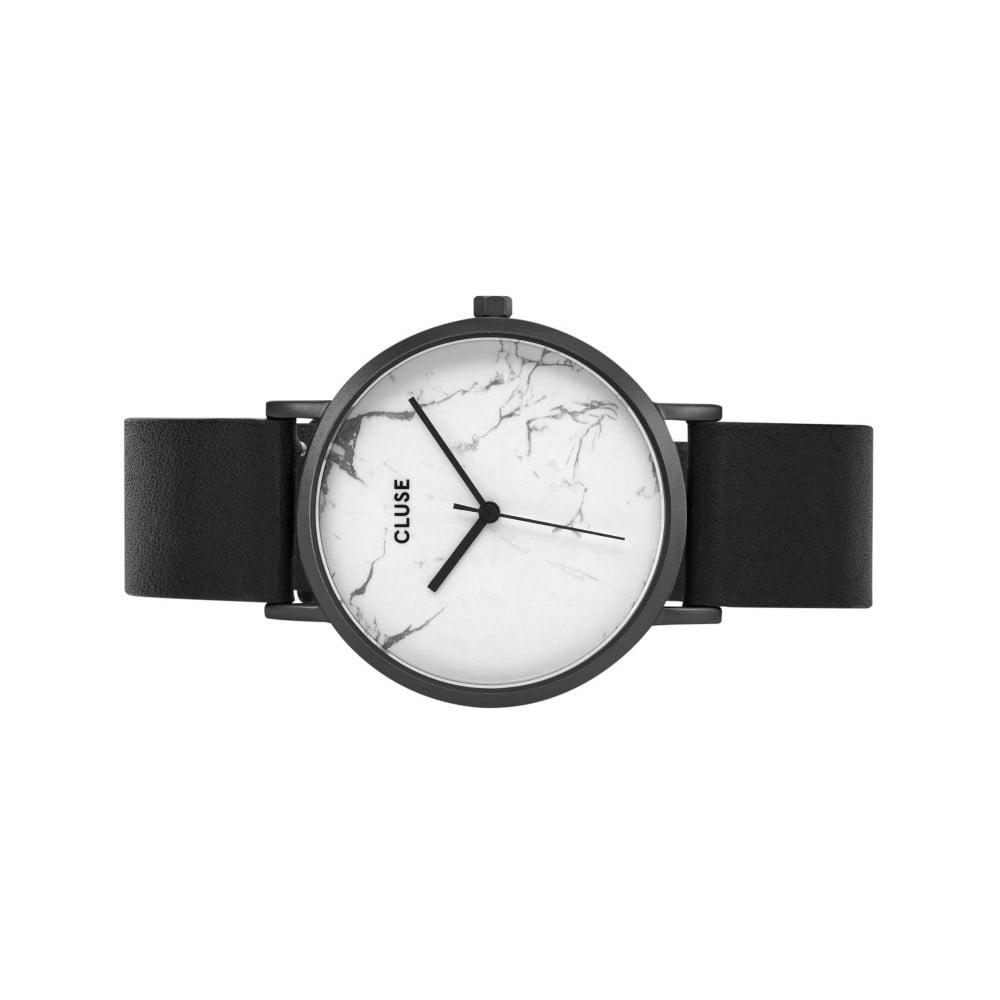 d478a76a37f Dámske hodinky s čiernym koženým remienkom a bielym mramorovým ciferníkom  dekoru Cluse La Roche ...