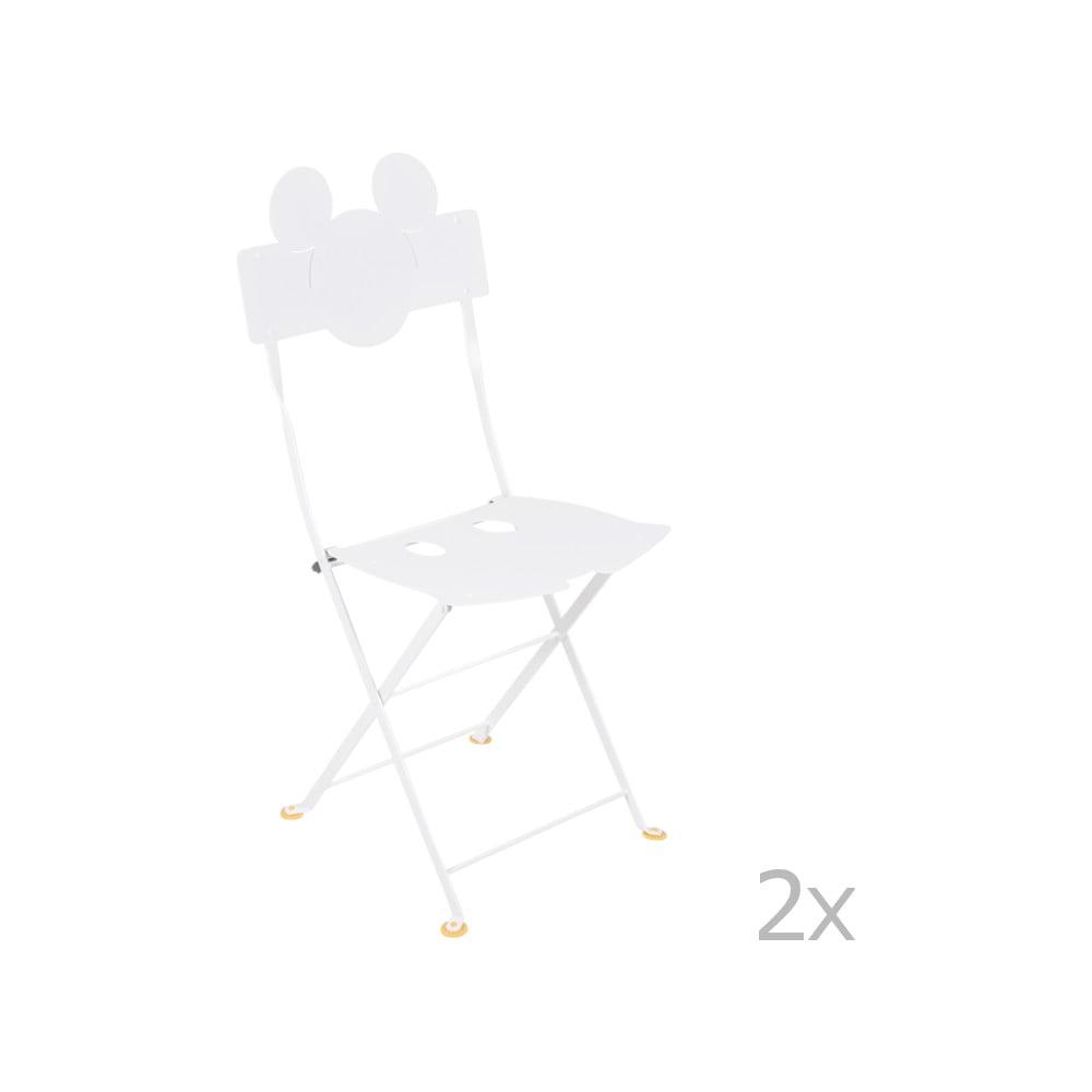 Sada 2 bielych kovových záhradných stoličiek Fermob Bistro Mickey