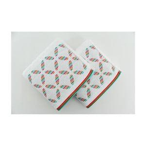 Sada 2 osušiek Rainbow White, 50x90 cm