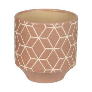 Keramický kvetináč Present Time Hexagon Carved Pink, medium