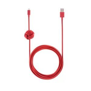 Červený synchronizačný a nabíjací kábel lightning pre iPhone Native Union Night Cable L, dĺžka 3 m