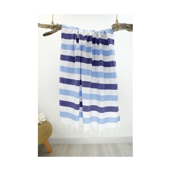 Bielo-modrá pruhovaná Hammam osuška Rainbow Style, 100x180cm